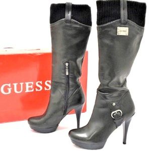 GUESS Black Leather Knee High Cuff Boots